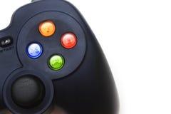 Schließen Sie oben vom Gamecontroller auf weißem Schirm lizenzfreies stockbild