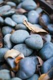 Schließen Sie oben vom grauen und dunkelblauen glatten Flussfelsen lizenzfreie stockbilder