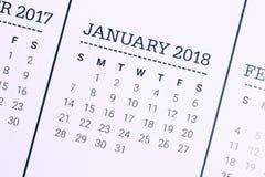 Schließen Sie oben vom vom Januar 2018 Lizenzfreie Stockfotos