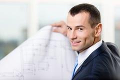 Schließen Sie oben vom Manager mit Skizze Lizenzfreie Stockbilder