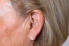 Schließen Sie oben vom Ohr einer älteren Frau Lizenzfreies Stockfoto