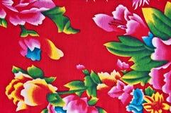 Schließen Sie oben vom roten Gewebe des traditionellen Chinesen Lizenzfreies Stockfoto