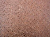 Schließen Sie oben vom Stahlrosthintergrund des materiellen Bodenbrauns Lizenzfreies Stockfoto