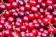 Schließen Sie oben vom Stapel von reifen Kirschen mit Stielen Große Sammlung frische rote Kirschen Reifer Kirschhintergrund Lizenzfreies Stockfoto