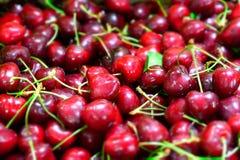 Schließen Sie oben vom Stapel von reifen Kirschen mit Stielen und Blättern Große Sammlung neuer roter Kirschhintergrund Stockfoto