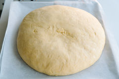 Schließen Sie oben vom Teig des Brotes auf Oven Plate Stockfotografie