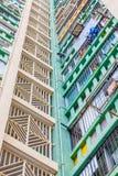 Schließen Sie oben von alten Wohnungen Hong Kongs, Asien Lizenzfreies Stockfoto