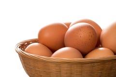 Schließen Sie oben von Brown Hen Eggs im Abtropfbrett Stockbild