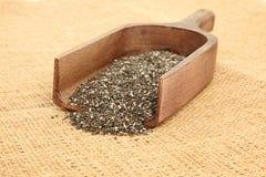 Schließen Sie oben von Chia Seeds In Scoop Stockfotos