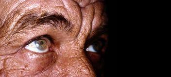 Schließen Sie oben von den Augen des alten Mannes Stockfoto