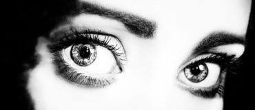 Schließen Sie oben von den Augen einer Frau Stockbilder