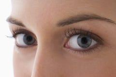 Schließen Sie oben von den Augen einer jungen Frau Stockbilder
