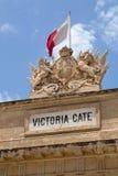 Schließen Sie oben von den Carvings auf Victoria Gate, Valletta, Malta Lizenzfreies Stockfoto
