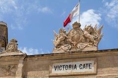 Schließen Sie oben von den Carvings auf Victoria Gate, Valletta, Malta Stockfotos