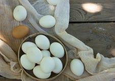 Schließen Sie oben von den Eiern in einer Schüssel Stockbilder