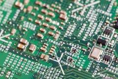 Schließen Sie oben von den elektronischen Bauelementen auf dem Motherboard, Mikroprozessorchip lizenzfreie stockbilder