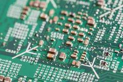 Schließen Sie oben von den elektronischen Bauelementen auf dem Motherboard, Mikroprozessorchip Lizenzfreies Stockbild