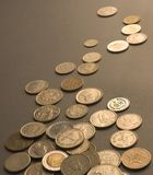 Schließen Sie oben von den internationalen Münzen Lizenzfreies Stockbild