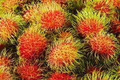 Schließen Sie oben von den Rambutanfrüchten Lizenzfreies Stockbild