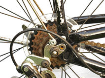 Schließen Sie oben von den rostigen Fahrradgängen Stockfoto