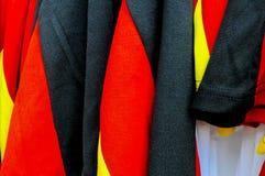 Schließen Sie oben von den roten blauen und schwarzen Farben Stockfoto