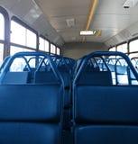 Schließen Sie oben von den Sitzen auf öffentlichen Transportmitteln Stockfotografie