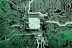 Schließen Sie oben von den Stromkreisen, die auf Mainboard-Technologiecomputerhintergrund-Logikbrett, CPU-Motherboard, Hauptaussc lizenzfreie stockbilder