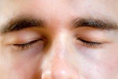 Schließen Sie oben von den Teilen eines menschlichen Gesichtes Stockbild