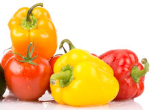 Schließen Sie oben von den Wassertropfen auf süßen vegatables: orange, gelber, roter Paprika und Tomaten Stockbilder