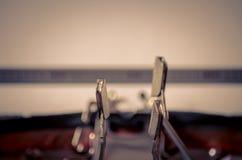 Schließen Sie oben von den Zeichen auf einer alten Schreibmaschine Lizenzfreie Stockbilder
