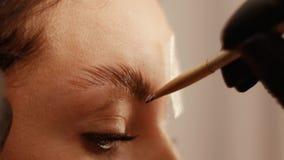 Schließen Sie oben von der Abdeckungsabhilfe der Augenbraue stock video