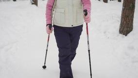 Schließen Sie oben von der aktiven Frau, die ihre Freizeit mit dem gehenden Trainieren des aktiven Nordic in der Waldglücklichen  stock video