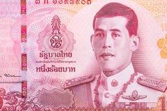Schließen Sie oben von der Banknote des thailändischen Baht 100 Stockbilder