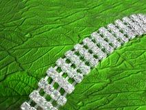 Schließen Sie oben von der dimond Halskette auf einem schönen grünen Hintergrund Stockbilder