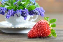 Schließen Sie oben von der Erdbeere mit Frühlingsblumen Stockfotos