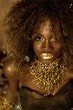Schließen Sie oben von der exotischen Afroamerikanerfrau mit der gelockten Afrofrisur, die das dunkle Make-up und Goldzubehör trä stockfotografie