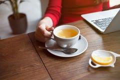 Schließen Sie oben von der Frauenhand, die Tasse Tee mit Zitrone, trinkender Tee hält und nach Informationen über Internet sucht Lizenzfreie Stockbilder