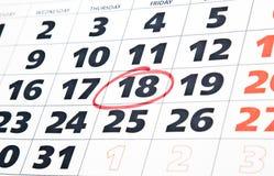 Schließen Sie oben von der Kalenderseite Lizenzfreie Stockfotos