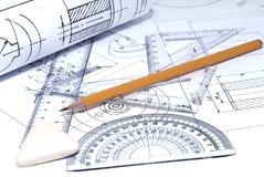 Schließen Sie oben von der Konstruktionszeichnung Lizenzfreie Stockfotos