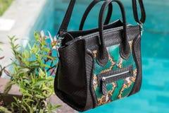 Schließen Sie oben von der Luxustasche stilvoller weiblicher snakseskin Pythonschlange draußen Teure weibliche Tasche der moderne lizenzfreie stockfotos