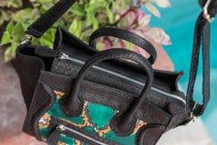Schließen Sie oben von der Luxustasche stilvoller weiblicher snakseskin Pythonschlange draußen Teure weibliche Tasche der moderne stockfoto