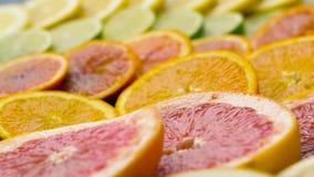 Schließen Sie oben von der Pampelmuse, von der Orange, von der Zitrone und vom Kalk stock video footage