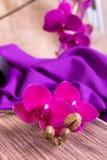 Schließen Sie oben von der purpurroten Orchidee auf hölzernem Hintergrund Stockbilder