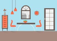 Schließen Sie oben von der runden Tabelle mit Gläsern und Tischbesteck stock abbildung