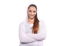 Schließen Sie oben von der schöner und des Athleten jungen Frau Stockfoto