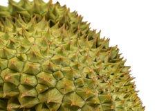 Schließen Sie oben von der stacheligen Beschaffenheit und dem Hintergrund des Durian Stockfoto