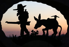 Schließen Sie oben von der Willkommensschildüberschrift in Apache-Kreuzung, Arizona lizenzfreie stockfotografie