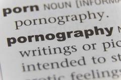 Schließen Sie oben von der Wortpornographie lizenzfreie stockfotos