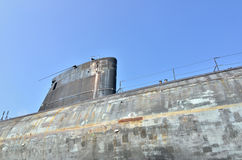 Schließen Sie oben von einem alten atomgetriebenen Unterseeboot lizenzfreie stockbilder