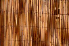 Schließen Sie oben von einem Bambuszaun. Stockfotos